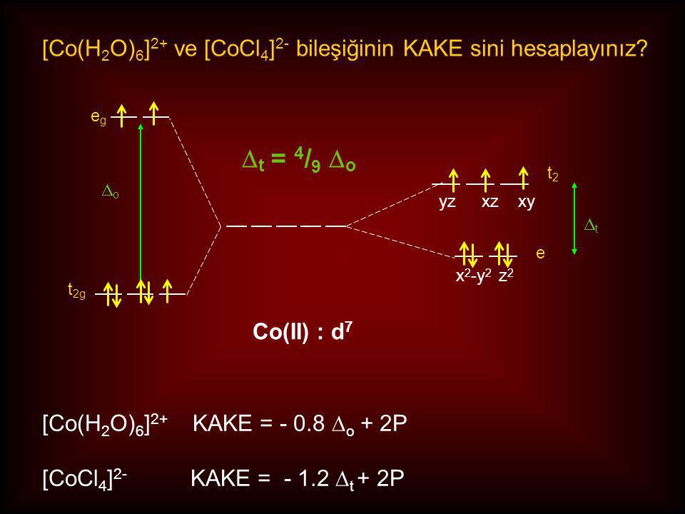 [Co(H2O)6]2+ ve [CoCl4]2- bileşiğinin KAKE sini hesaplayınız
